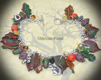 Nature Retreat Autumn Charm Bracelet - Pagan Jewellery, Wicca, Mabon, Equinox