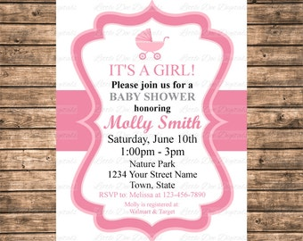 Personalized Pink and White Baby Carriage Baby Shower Invitation - Printable Digital File
