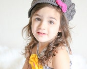 Girls cabled newsboy, crocheted newsboy, girls hat, girls gift, girls winter accessory