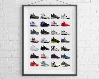 Nike Air Jordans 4s - Nike Poster - Michael Jordan Poster - Jordan Wall Art - Shoe Art - Nike Jordan Poster - Nike Sneakers -