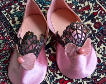 Vintage Handmade Pink Slippers for Fashion Dolls—Victorian or Edwardian Style, Older Metal Lace