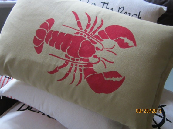 Beach themed throw pillow with stenciled lobster cotton easy care fabric