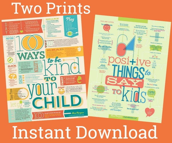 2-Pack Printable 100 Ways to Be Kind + 64 Positive Things (large + letter size printable files)