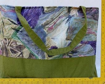 Tote Bag - Maxi Emily Green Purple Abstract