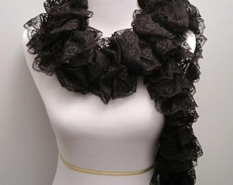 Ruffled Black Lace Scarf