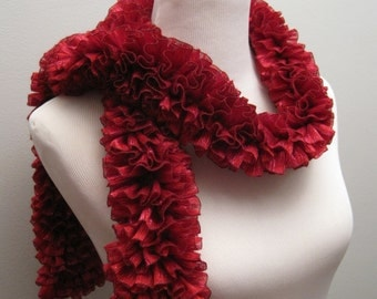 Christmas Red Ruffled Scarf