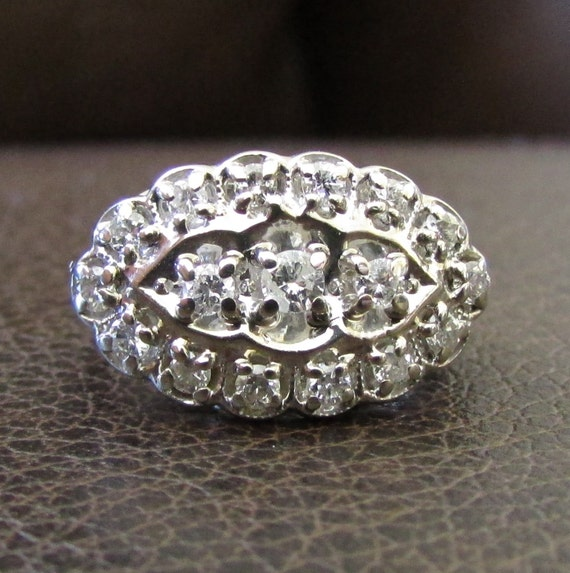 Princess Ring Navette Ring Vintage Diamond Cluster Ring