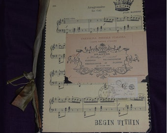 Found Cat Anna Corba Lined Journal -  Embellished Musicians