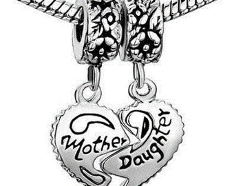 Mother Daughter Heart Dangles, Two Piece Charm Spacer Beads Fits Pandora Troll Chamilia Biagi Bracelet