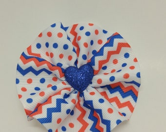 Red, white, and blue handmade hair bow
