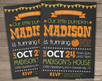 Our Little Pumpkin Invitation, Pumpkin Birthday Invitation, Fall Invitation, Pumpkin Invitation, Our Little Pumpkin is turning one