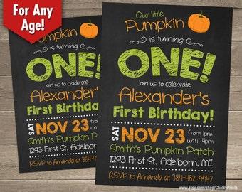 Fall Birthday Invitation, Our Little Pumpkin Invitation, Our Little Pumpkin is turning one, Halloween Birthday Invitation