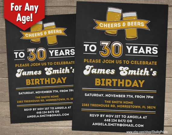 Cheers and Beers Invitation Cheers to 30 years 30th Birthday – 70th Surprise Birthday Party Invitations