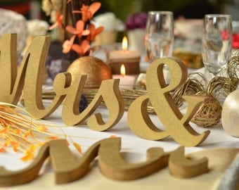 "Wedding  MR.. and. MRS.. unpainted, painted or glitter letters 4"", 5"", 6"" or 7"" tall , wood sign wedding table decoration."