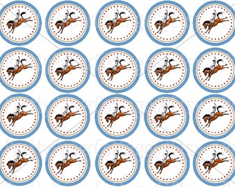 Rodeo Cowboy, Instant, Digital Download, Boy, Birthday Party, Baby Shower, DIY, PDF, Craft Projects, 2 Inch