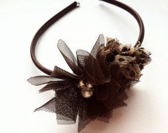 Leopard Headband - Leopard Print Hard Headband - Brown Flower Headband - Teen Headband - Satin Lined Headband - Boutique Head Band for Girl