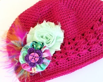 Toddler Hat - Flower Hat for Girls - Pink Beanie Hat - Crochet Hat - Flower Cap for Girl - Toddler Beanie Cap - Pink Hat - Girl Photo Prop