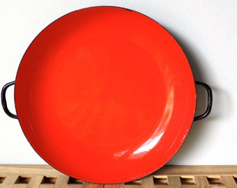 Vintage Enamel Shallow Pan Bright Orange & Black Made in Italy Retro Mod