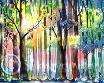 FOREST LIGHT art print of original watercolour painting trees woods woodland nature sunlight watercolor