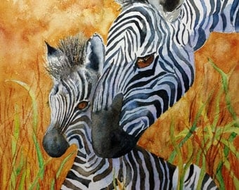 "Zebras, Mother and Baby Zebra, Nursery, Mother's day, ""Mother's Love"" PRINT"