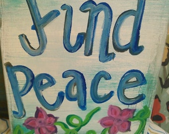 Find Peace Canvas Painting with Flowers + Gift + Decorating + Art