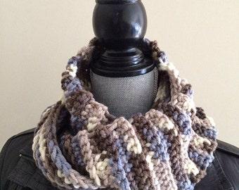 Double Texture Crochet Infinity Scarf