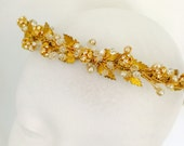 Bridal headpiece ,Gold Tiara, Gold Leaf Crown, Greek Crown, Gold Leaf Headband, Gold Flower Crown, Boho Bridal  Wreath - ABSOLUTE HONOUR