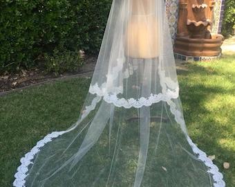 Veil, Alencon Lace Veil , Long Veil, Bridal Veil, Wedding Veil, Flower Lace Veil- SUMMER  Veil