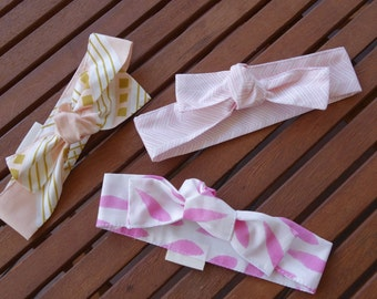 Top Knot Headbands: Blush/gold and pink - Set of 3