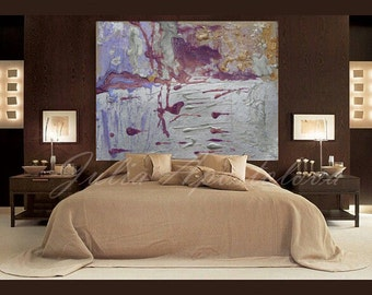 54inch, Huge Wall Art, Large Abstract Print, Silver Painting, Purple and Gray, Modern Home Decor, Contemporary Art by Julia Apostolova
