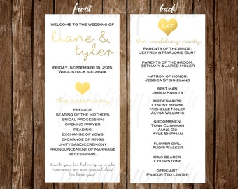 Customizable Wedding Program