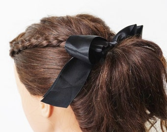 Black Bow Ponytail Elastic Hair Tie