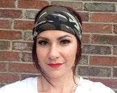 Camo Headwrap, Turban, Wide Headband, Camo Headband, Yoga, Women's Headwrap, Running, Hunting, Military, Patriotic, Army Green, Olive Green