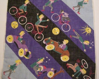 Vintage Man on Bicycle in Automobile Accident Hankie
