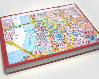 Diary with a plan of Dusseldorf/Germany