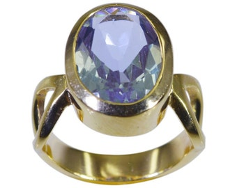 Gold Plated Ring,Blue  Ring,Alexandrite CZ Blue  Ring,Gold Plated Ring,personalized ring,crystal
