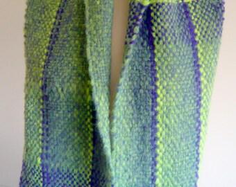 Purple /Green Handwoven Scarf