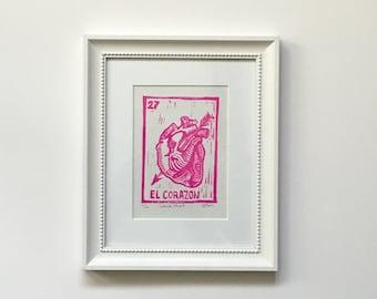 Mexican Art / Loteria / Corazon Heart Limited Edition El Corazon Hot Pink Loteria Block Print