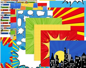 Comic Book Digital Papers, Digital Scrapbooking, INSTANT DOWNLOAD, Super Hero, comic strip, 12x12, Scrapbooking, CU, Party, Comic Background