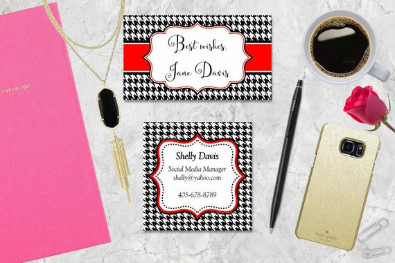 Houndstooth Gift Tags, Black Houndstooth, Hounds tooth, Red, Tags, Business Cards, Calling Cards, Appointment Cards, Personalized Gift Tags