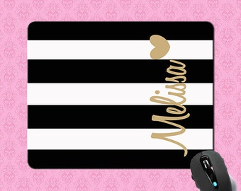 Monogrammed Mousepad - Black Stripe Gold Heart , Personalized Mouse pad , Monogram Mousepad