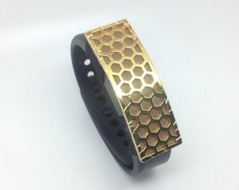 "Garmin Vivosmart wristband slider / cover - ""Honeycomb"" Gold tone and taupe leather"