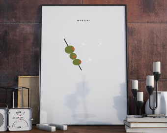 Martini Drink Design Print. Poster.