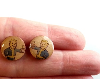wood FALLOUT Earring Studs, fallout earrings, Wood Earrings, Wood Studs, Fallout Studs