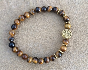 Gold Tigers Eye bracelet with San Benito connector Medallion
