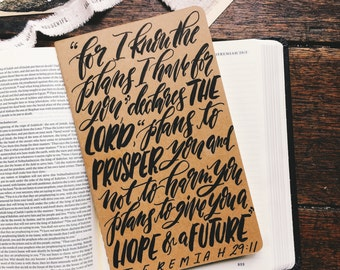 Jeremiah 29:11 prayer journal, Father's day gift, hand lettered on Moleskine notebook, scripture gift, hope and a future