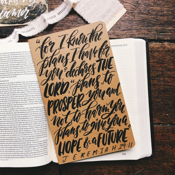 Jeremiah 29:11 prayer journal, Christmas gift, gifts for him, hand lettered on Moleskine notebook, scripture gift, hope and a future