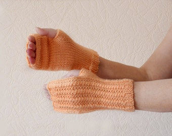 Arm Mittens peach orange fingerless gloves, arm warmers, wrist warmers, hand warmers