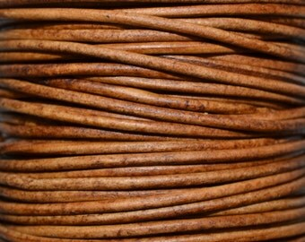 Natural Light Brown - 3mm Leather Cord per yard