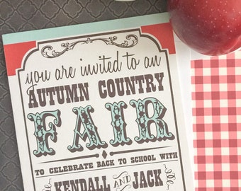 Fall / Autumn Country Fair Invitation, Red, Blue and Brown
